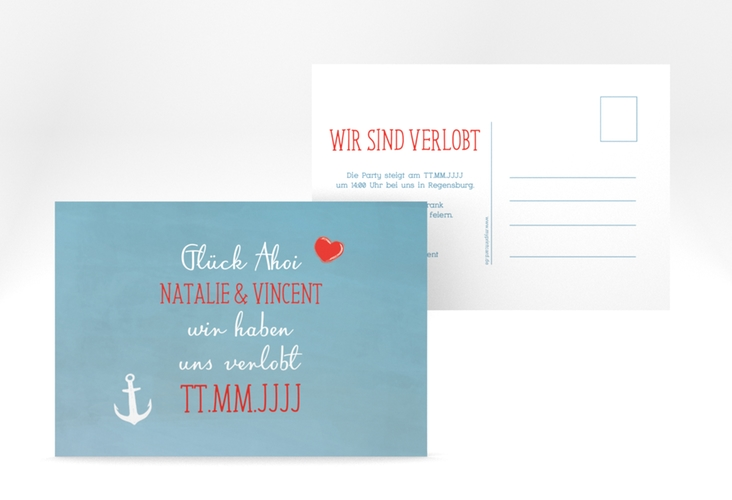 "Verlobungskarte Hochzeit ""Ehehafen"" A6 Postkarte blau"