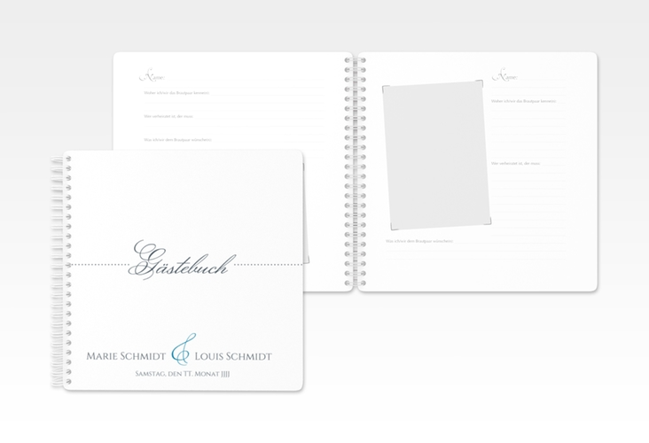 "Gästebuch Hochzeit ""Pure"" Ringbindung blau"