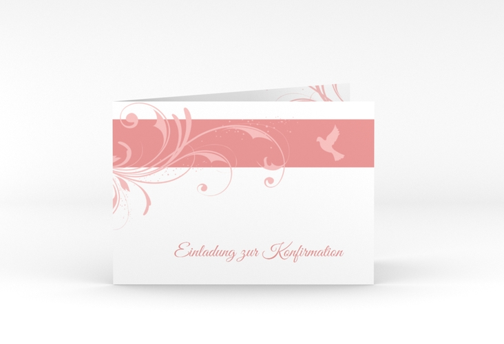 "Konfirmationseinladung ""Airy"" A6 Klappkarte Quer rosa"
