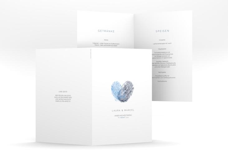 "Menükarte Hochzeit ""Fingerprint"" DIN A5 geklappt blau"