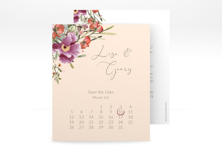 "Save the Date-Kalenderblatt ""Rosey"" Kalenderblatt-Karte"