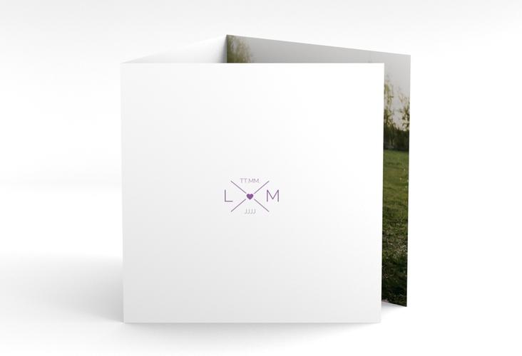 "Dankeskarte Hochzeit ""Initials"" Quadr. Karte doppelt lila"