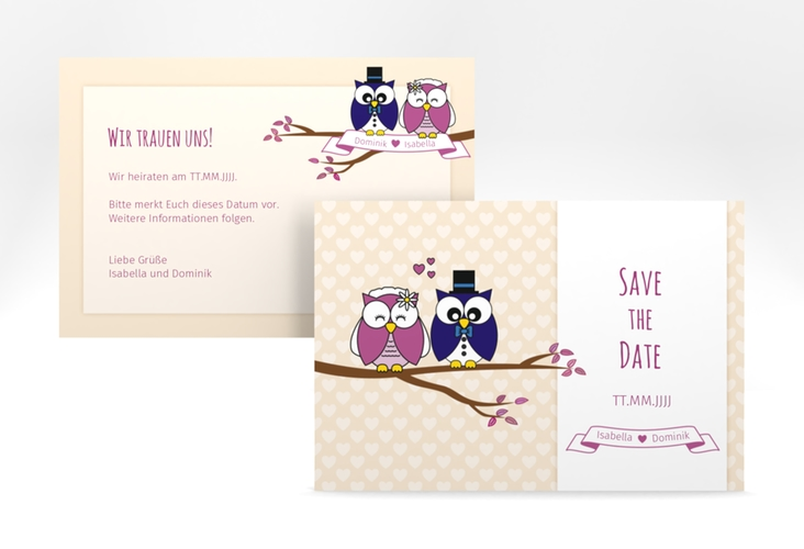 "Save the Date-Karte Hochzeit ""Eulenliebe"" A6 quer"