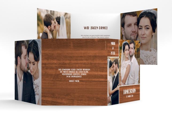 """Dankeskarte Hochzeit """"Landliebe"""" Quadr. Karte doppelt braun"""