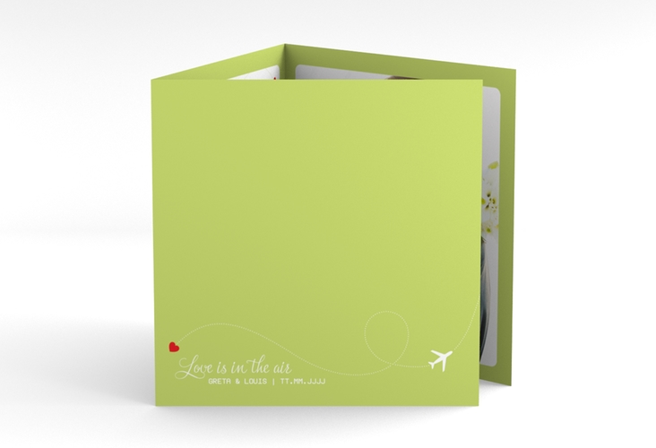 "Dankeskarte Hochzeit ""Weddingpass"" Quadr. Karte doppelt gruen"