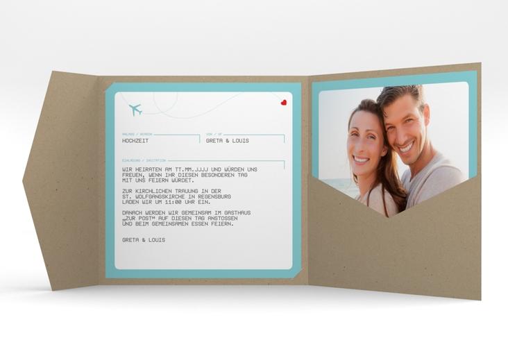"""Hochzeitseinladung """"Weddingpass"""" Pocketfold blau"""