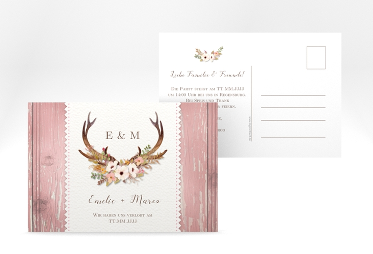 "Verlobungskarte Hochzeit ""Heimatjuwel"" A6 Postkarte rosa"