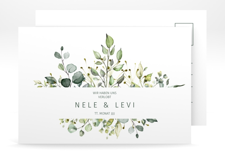 "Verlobungskarte Hochzeit ""Enchanting"" A6 Postkarte weiss"