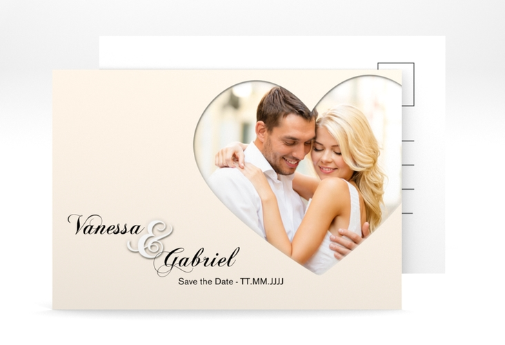 "Save the Date-Postkarte ""Sweetheart"" A6 Postkarte beige"