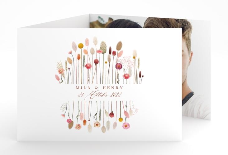 """Hochzeitseinladung """"Driedflower"""" A6 doppelt geklappt weiss"""