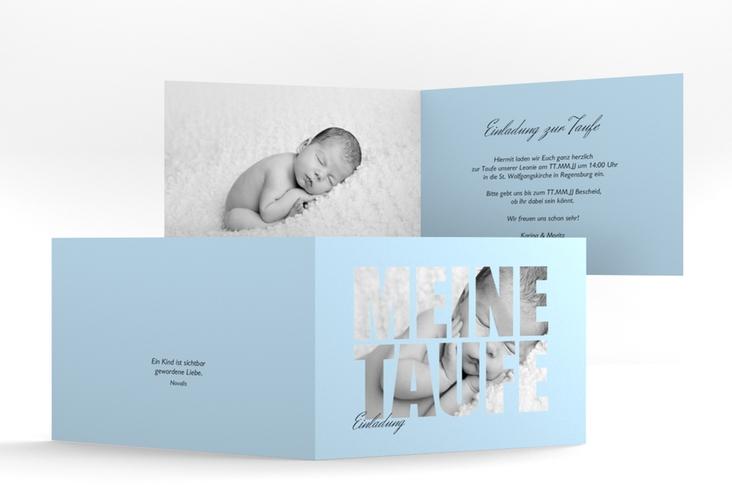 "Einladungskarte Taufe ""Blessing"" A6 Klappkarte Quer blau"