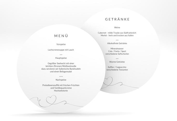 """Menükarte Hochzeit """"Dolce"""" rund weiss"""