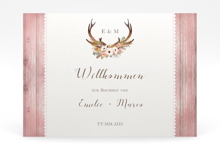 "Willkommensschild Poster ""Heimatjuwel"" 70 x 50 cm Poster rosa"