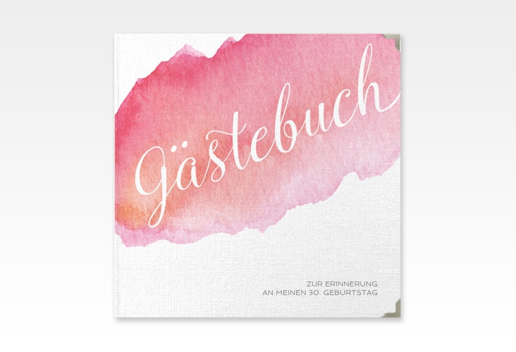 "Gästebuch Selection Geburtstag ""Aquarell"" Leinen-Hardcover rot"