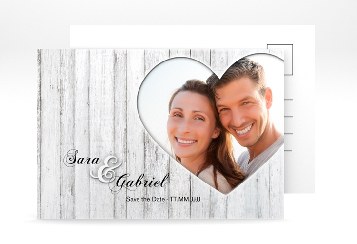 "Save the Date-Postkarte ""Herz"" A6 Postkarte weiss"