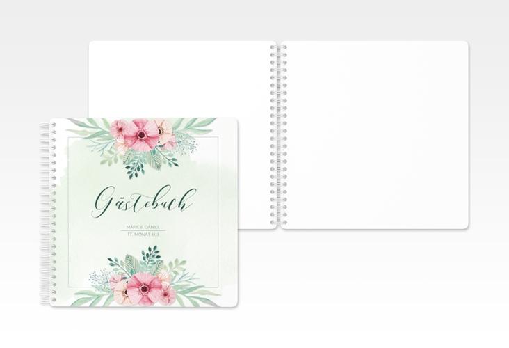 """Gästebuch Hochzeit """"Surfinia"""" Ringbindung gruen"""