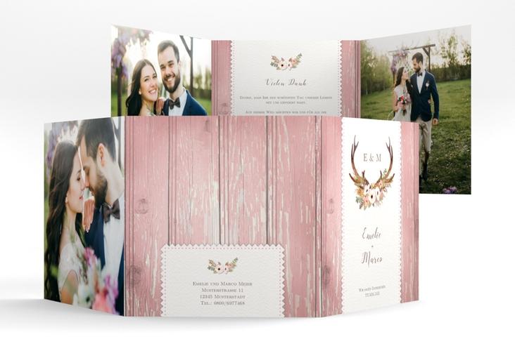 """Dankeskarte Hochzeit """"Heimatjuwel"""" Quadr. Karte doppelt rosa"""