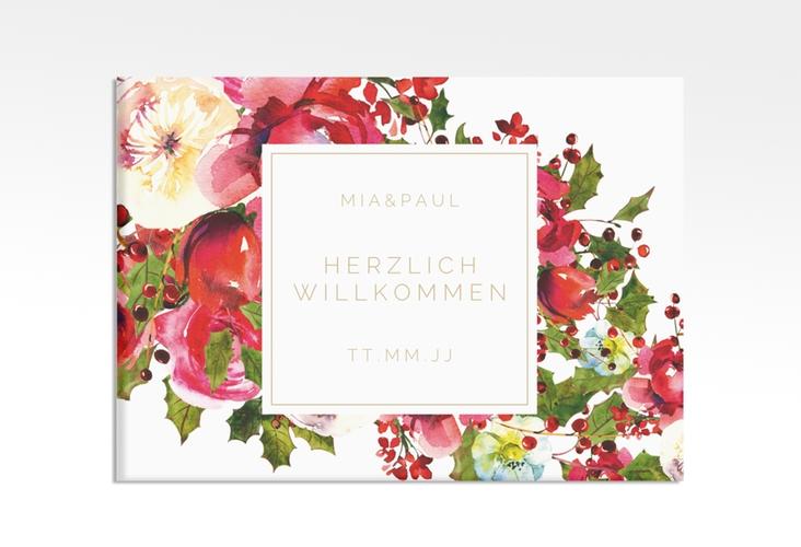 """Willkommensschild Hochzeit """"Blumenpracht"""" 70 x 50 cm Leinwand weiss"""