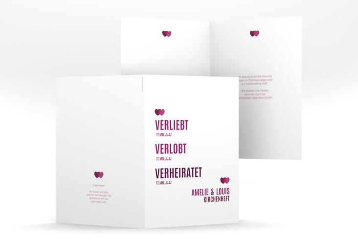 """Kirchenheft Hochzeit """"Couple"""" DIN A5 geklappt pink"""