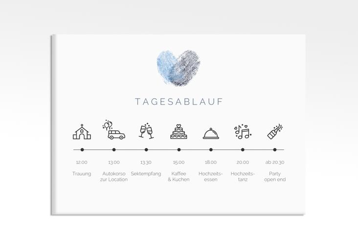 "Tagesablauf Leinwand Hochzeit ""Fingerprint"" 70 x 50 cm Leinwand blau"