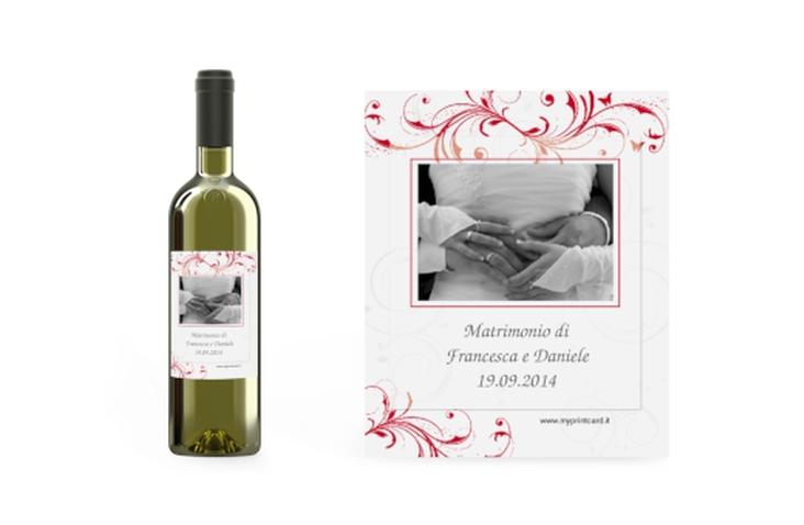 Etichette vino matrimonio collezione Palma Etikett Weinflasche 4er Set rosso
