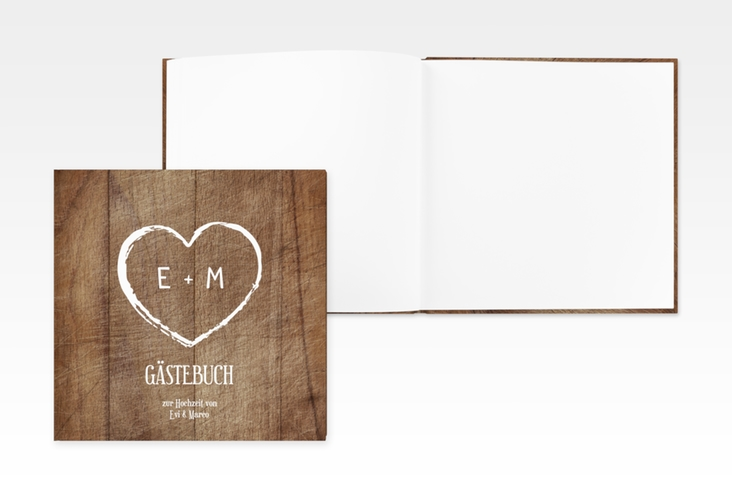 "Gästebuch Creation ""Wood"" 20 x 20 cm, Hardcover braun"