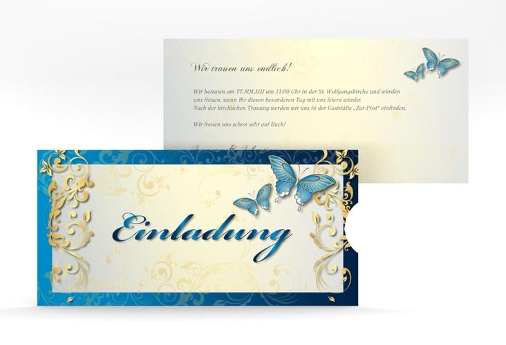 """Hochzeitseinladung """"Toulouse"""" Einsteckkarte blau"""