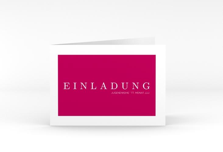 """Einladung Jugendweihe """"Simple"""" A6 Klappkarte Quer pink"""