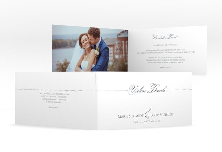"Dankeskarte Hochzeit ""Pure"" DIN lang Klappkarte grau"