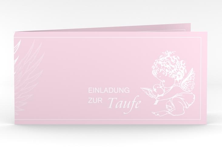 """Einladungskarte Taufe """"Angel"""" DIN lang Klappkarte rosa"""