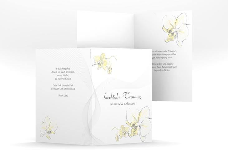 """Kirchenheft Hochzeit """"Modena"""" DIN A5 geklappt gelb"""
