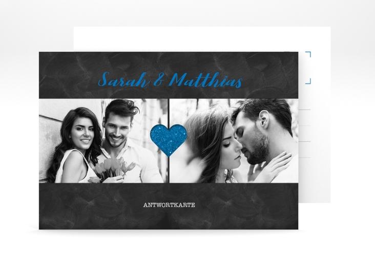 """Antwortkarte Hochzeit """"Sparkly"""" A6 Postkarte blau"""