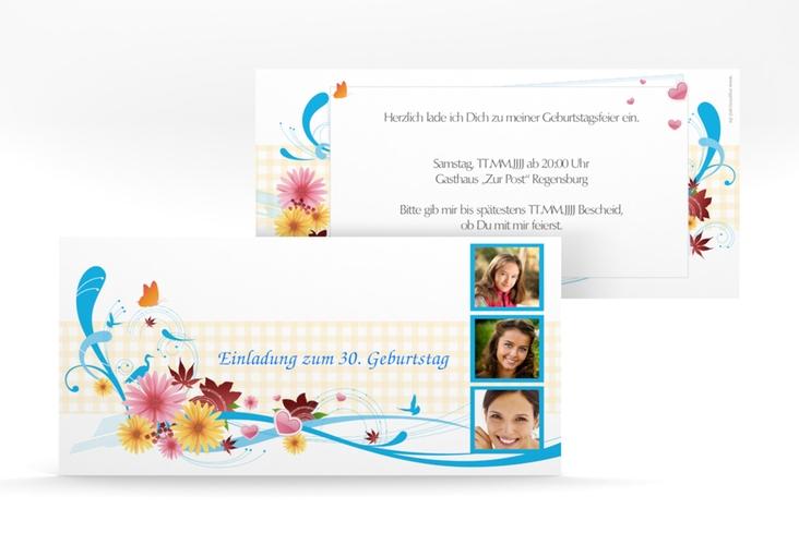 "Einladungskarte ""Elisabeth"" DIN lang blau"