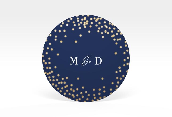 """Aufkleber Hochzeit """"Glitter"""" Aufkleber, selbstklebend, rund blau"""
