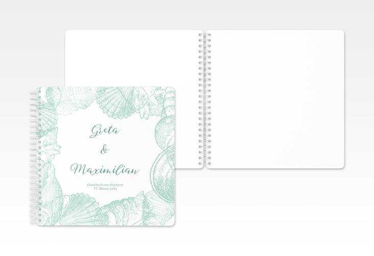 """Gästebuch Hochzeit """"Muschelreich"""" Ringbindung mint"""