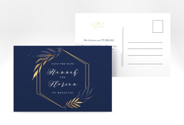 "Save the Date-Postkarte ""Eleganza"" A6 Postkarte blau"
