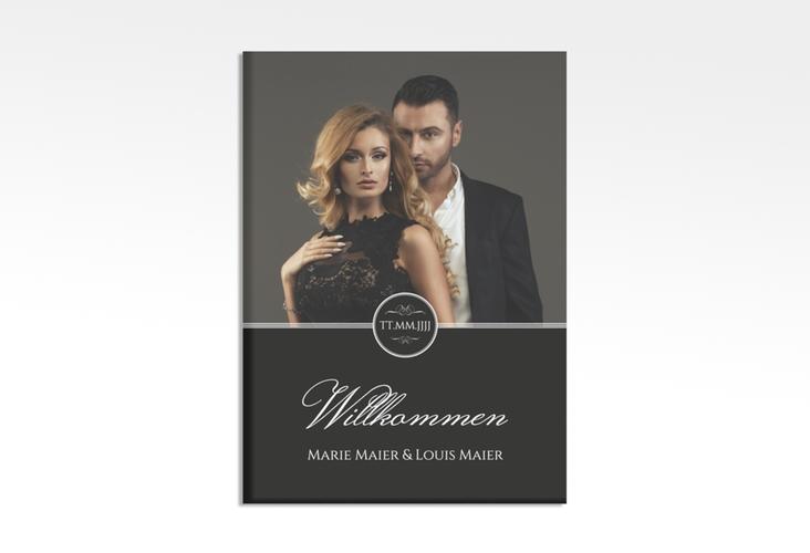 """Willkommensschild Hochzeit """"Elegancy"""" 50 x 70 cm Leinwand schwarz"""