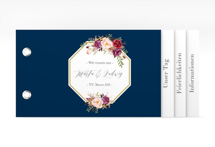 """Hochzeitseinladung """"Prachtvoll"""" Booklet blau"""