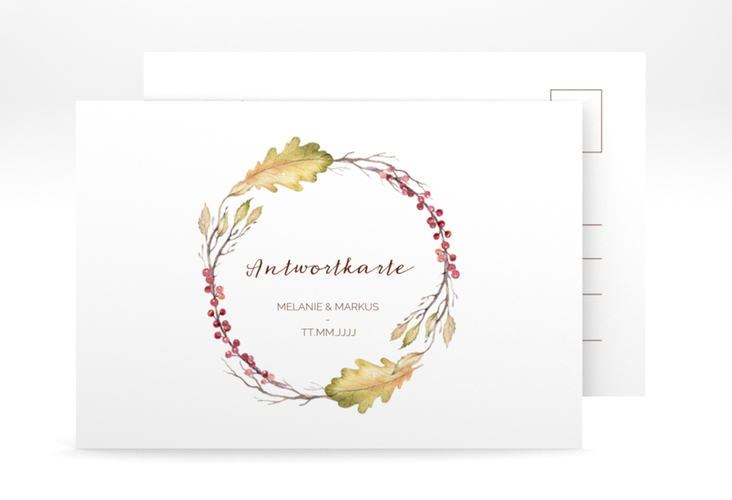 """Antwortkarte Hochzeit """"Herbsthochzeit"""" A6 Postkarte"""