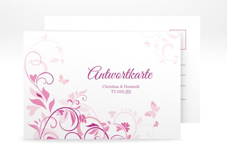 """Antwortkarte Hochzeit """"Lilly"""" A6 Postkarte pink"""
