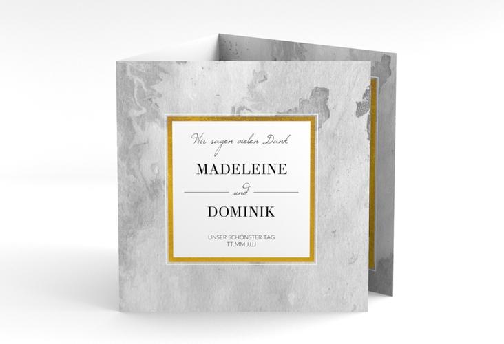 "Dankeskarte Hochzeit ""Marble"" Quadr. Karte doppelt grau"