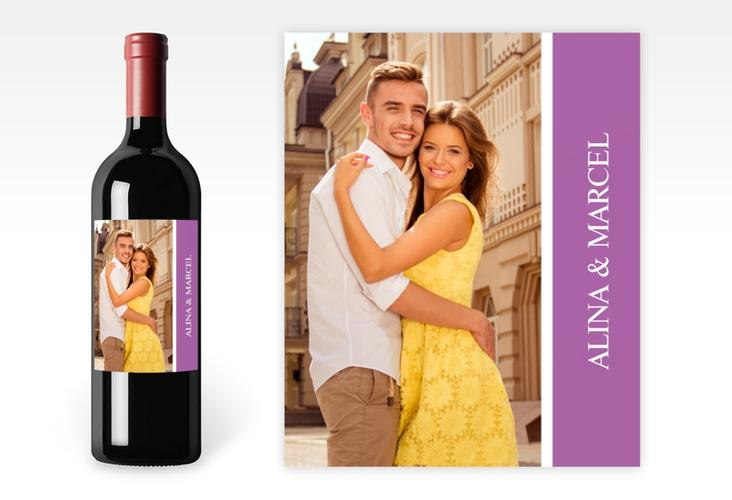"""Weinetikett zur Hochzeit """"Classic"""" Etikett Weinflasche 4er Set lila"""