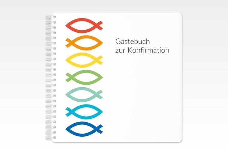 """Gästebuch Konfirmation """"Charity"""" Ringbindung weiss"""