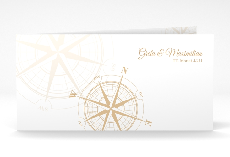 "Danksagung Hochzeit  ""Windrose"" DIN lang Klappkarte beige"