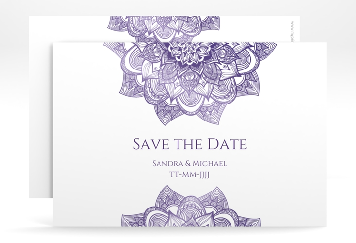 "Save the Date-Karte Hochzeit ""Delight"" A6 quer lila"