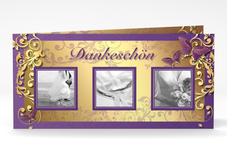 "Dankeskarte Hochzeit ""Toulouse"" DIN lang Klappkarte lila"