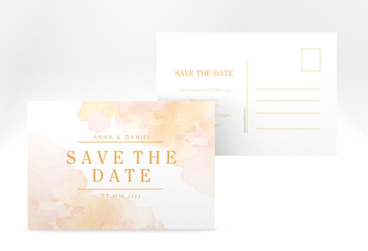 "Save the Date-Postkarte ""Blush"" A6 Postkarte orange"