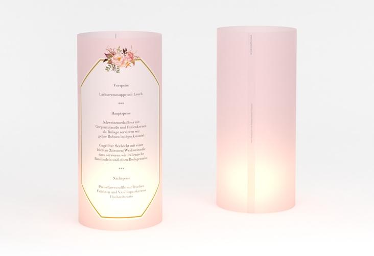 """Windlicht Menü Hochzeit """"Prachtvoll"""" Windlicht rosa"""