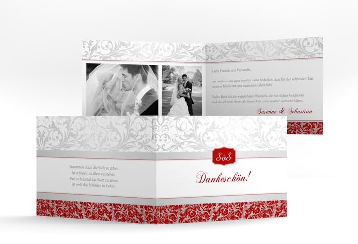 """Danksagungskarte Hochzeit """"Latina"""" A6 Klappkarte Quer rot"""