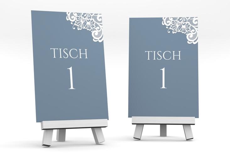 """Tischnummer Hochzeit """"Vintage"""" Tischaufsteller blau"""